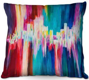 Throw Pillows Decorative Artistic   Lam Fuk Tim - Rainbow EQ 1   abstract pattern lines