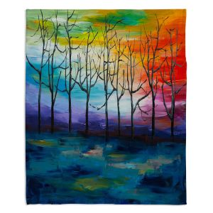 Decorative Fleece Throw Blankets | Lam Fuk Tim - Rainbow Trees 1 | landscape surreal forest nature