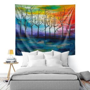 Artistic Wall Tapestry | Lam Fuk Tim - Rainbow Trees 1 | landscape surreal forest nature