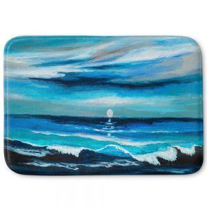 Decorative Bathroom Mats | Lam Fuk Tim - Seaside Moon Waves 1 | landscape ocean water sea
