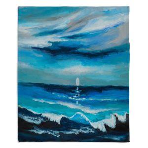 Artistic Sherpa Pile Blankets | Lam Fuk Tim - Seaside Moon Waves 1 | landscape ocean water sea
