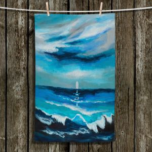 Unique Hanging Tea Towels | Lam Fuk Tim - Seaside Moon Waves 1 | landscape ocean water sea