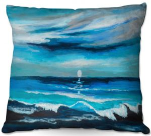 Throw Pillows Decorative Artistic | Lam Fuk Tim - Seaside Moon Waves 1 | landscape ocean water sea