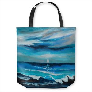 Unique Shoulder Bag Tote Bags | Lam Fuk Tim - Seaside Moon Waves 1 | landscape ocean water sea