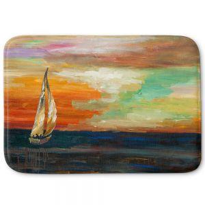 Decorative Bathroom Mats | Lam Fuk Tim - Sunset Sailing 1 | abstract ocean sea waves