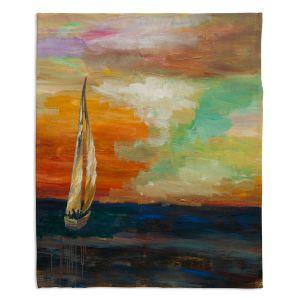 Artistic Sherpa Pile Blankets | Lam Fuk Tim - Sunset Sailing 1 | abstract ocean sea waves