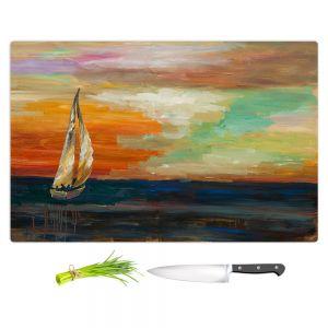 Artistic Kitchen Bar Cutting Boards | Lam Fuk Tim - Sunset Sailing 1 | abstract ocean sea waves