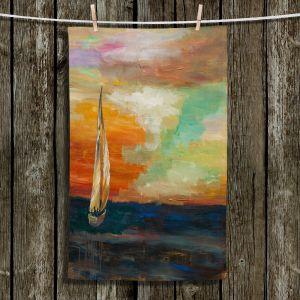 Unique Hanging Tea Towels | Lam Fuk Tim - Sunset Sailing 1 | abstract ocean sea waves