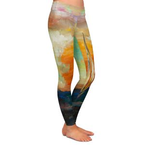 Casual Comfortable Leggings | Lam Fuk Tim - Sunset Sailing 1 | abstract ocean sea waves
