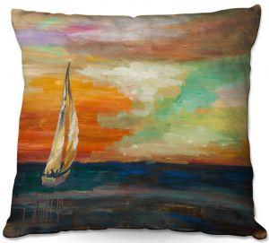 Decorative Outdoor Patio Pillow Cushion | Lam Fuk Tim - Sunset Sailing 1 | abstract ocean sea waves