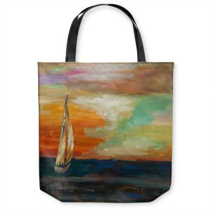 Unique Shoulder Bag Tote Bags | Lam Fuk Tim - Sunset Sailing 1 | abstract ocean sea waves