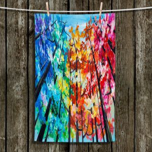 Unique Hanging Tea Towels | Lam Fuk Tim - Treetop Colorful 1 | nature surreal forest trees