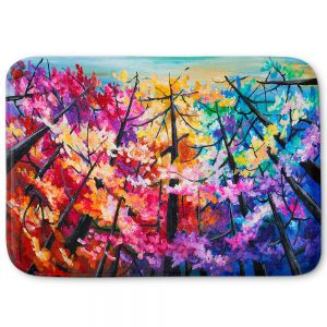 Decorative Bathroom Mats | Lam Fuk Tim - Treetop Colorful 2 | nature surreal forest trees