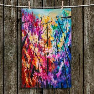 Unique Hanging Tea Towels | Lam Fuk Tim - Treetop Colorful 2 | nature surreal forest trees