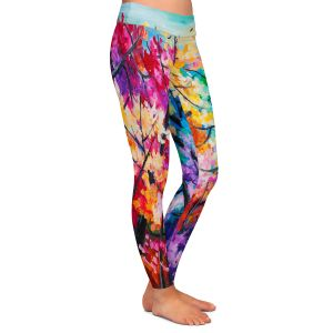 Casual Comfortable Leggings | Lam Fuk Tim - Treetop Colorful 2 | nature surreal forest trees