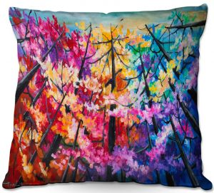 Unique Outdoor Pillow 16X16 from DiaNoche Designs by Lam Fuk Tim - Treetop Colorful 2