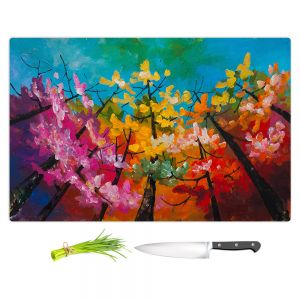 Artistic Kitchen Bar Cutting Boards | Lam Fuk Tim - Treetop Colorful 3 | nature surreal forest trees