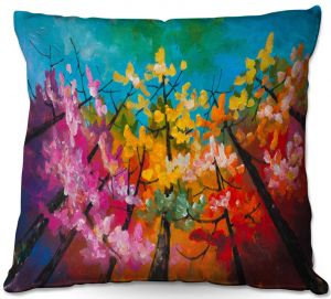Decorative Outdoor Patio Pillow Cushion | Lam Fuk Tim - Treetop Colorful 3 | nature surreal forest trees