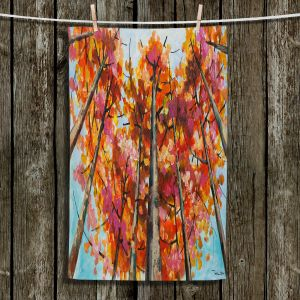Unique Hanging Tea Towels | Lam Fuk Tim - Treetop Red | nature surreal forest trees