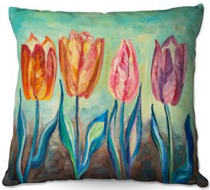 Throw Pillows Decorative Artistic | Lam Fuk Tim - Tulips 1 | nature flower