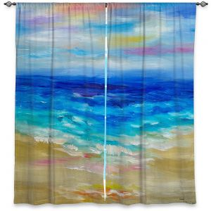 Unique Window Curtains Unlined 40w x 61h from DiaNoche Designs by Lam Fuk Tim - Waves Abstract III