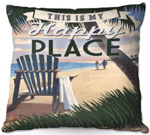 Decorative Outdoor Patio Pillow Cushion | Lantern Press - Beach Happy Place