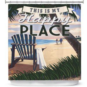 Premium Shower Curtains   Lantern Press - Beach Happy Place