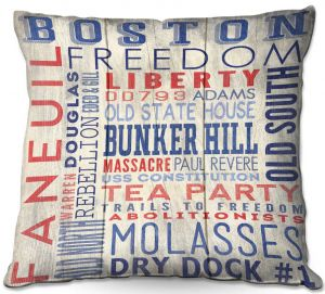 Decorative Outdoor Patio Pillow Cushion   Lantern Press - Boston Quotes   Typography Words Massachusetts