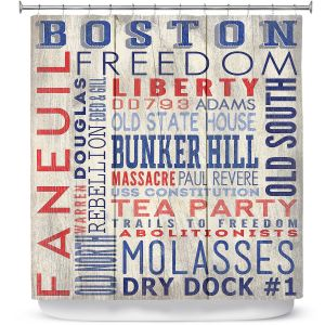 Premium Shower Curtains | Lantern Press - Boston Quotes | Typography Words Massachusetts