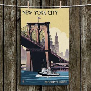 Unique Hanging Tea Towels   Lantern Press - Brooklyn Bridge New York City   Bridge River Boats Brooklyn