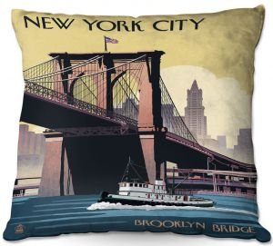 Decorative Outdoor Patio Pillow Cushion | Lantern Press - Brooklyn Bridge New York City