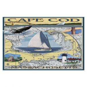 Decorative Floor Coverings | Lantern Press - Cape Cod Map | Ocean Sea Massachusetts