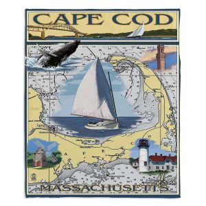 Decorative Fleece Throw Blankets | Lantern Press - Cape Cod Map | Ocean Sea Massachusetts