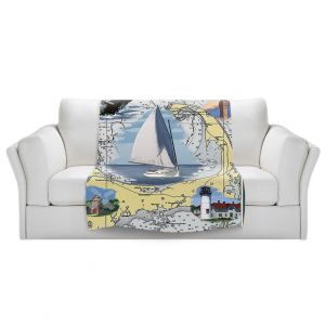 Artistic Sherpa Pile Blankets | Lantern Press - Cape Cod Map | Ocean Sea Massachusetts