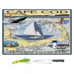 Artistic Kitchen Bar Cutting Boards | Lantern Press - Cape Cod Map | Ocean Sea Massachusetts
