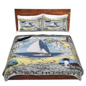 Artistic Duvet Covers and Shams Bedding | Lantern Press - Cape Cod Map | Ocean Sea Massachusetts