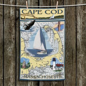 Unique Bathroom Towels | Lantern Press - Cape Cod Map | Ocean Sea Massachusetts