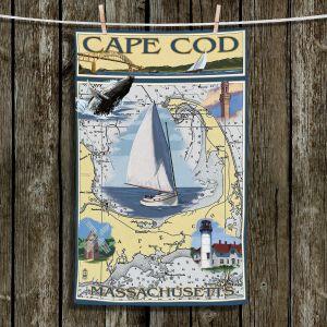 Unique Hanging Tea Towels | Lantern Press - Cape Cod Map | Ocean Sea Massachusetts