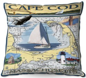Decorative Outdoor Patio Pillow Cushion | Lantern Press - Cape Cod Map | Ocean Sea Massachusetts