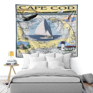 Artistic Wall Tapestry | Lantern Press - Cape Cod Map | Ocean Sea Massachusetts