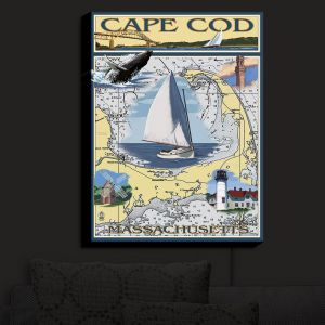 Nightlight Sconce Canvas Light | Lantern Press - Cape Cod Map