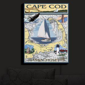Nightlight Sconce Canvas Light | Lantern Press - Cape Cod Map