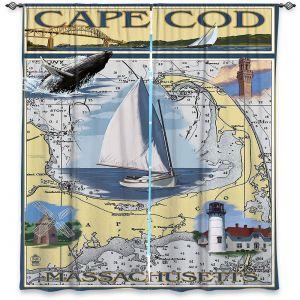 Decorative Window Treatments   Lantern Press - Cape Cod Map   Ocean Sea Massachusetts