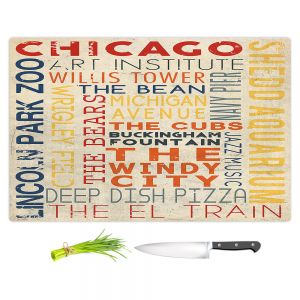 Artistic Kitchen Bar Cutting Boards | Lantern Press - Chicago Quotes | Typography Words Illinois