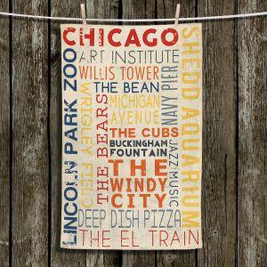 Unique Hanging Tea Towels | Lantern Press - Chicago Quotes | Typography Words Illinois