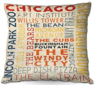Decorative Outdoor Patio Pillow Cushion | Lantern Press - Chicago Quotes | Typography Words Illinois