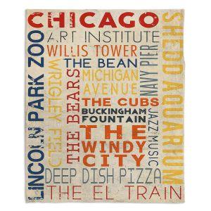 Decorative Fleece Throw Blankets   Lantern Press - Chicago Quotes   Typography Words Illinois