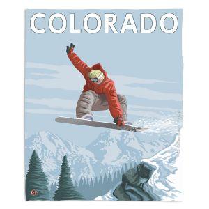 Artistic Sherpa Pile Blankets   Lantern Press - Colorado Snowboarder