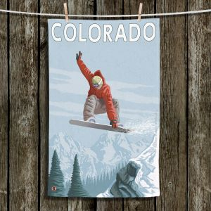 Unique Hanging Tea Towels | Lantern Press - Colorado Snowboarder | Mountains Snowboarding