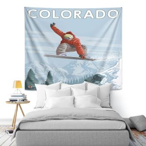 Artistic Wall Tapestry | Lantern Press - Colorado Snowboarder
